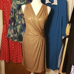 Anthropologie Gold Grecian Style Dress